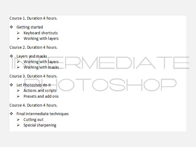 list of items for the intermediate photoshop course