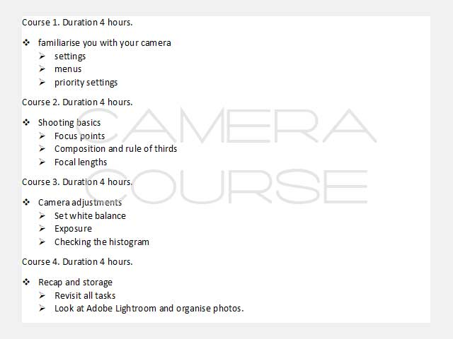list of camera course items